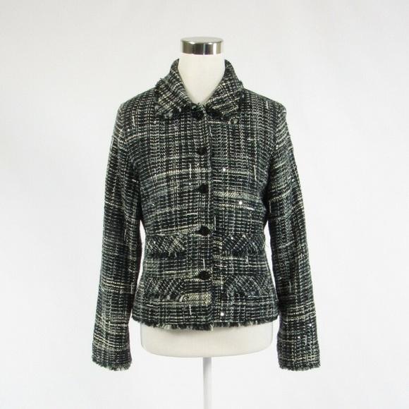 Black white plaid tweed ANAGE long sleeve jacket S